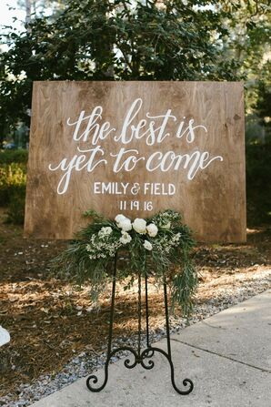 Wooden Wedding Sign With Calligraphy at Eden Gardens State Park in Santa Rosa Beach, Florida