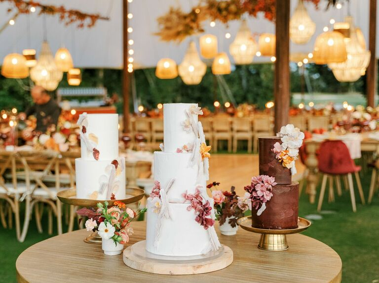 Trio of wedding cakes in shades of white and brown