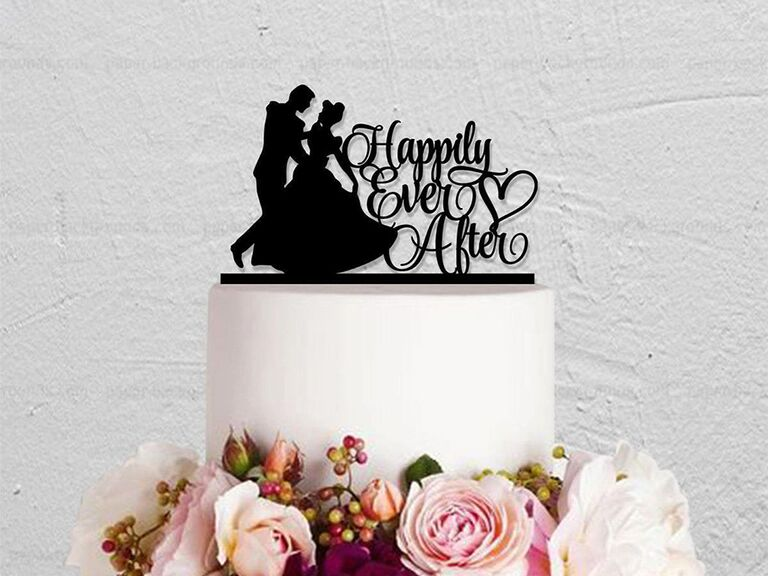 Black acrylic topper with Cinderella and prince silhouettes dancing and 'Happily Ever After' in elegant script