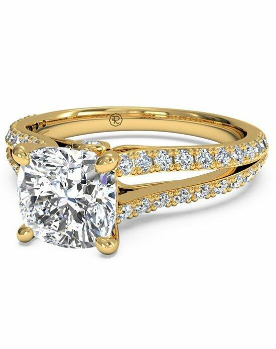 Ritani Cushion Cut Double French-Set Diamond 'V' Engagement Ring with Surprise Diamonds in 18kt Yellow Gold (0.24 CTW) Engagement Ring photo