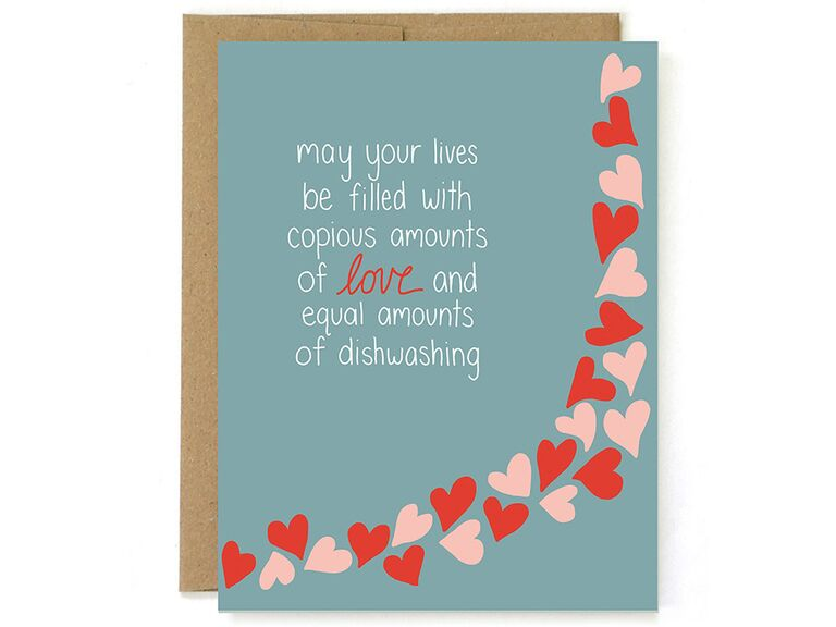 Simple white type and pink and red hearts graphics on blue background