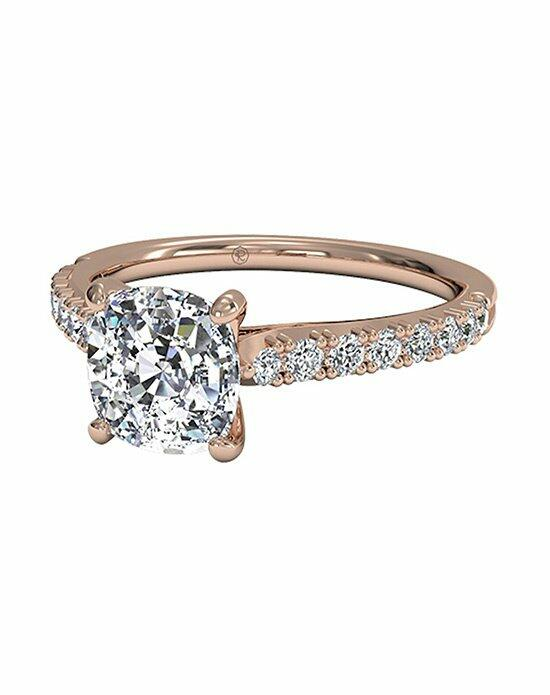 Ritani Cushion Cut French-Set Diamond Band Engagement Ring in 18kt Rose Gold (0.23 CTW) Engagement Ring photo