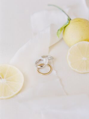 Classic Emerald-Cut Engagement Ring, White Gold Wedding Band and Yellow Gold Wedding Band