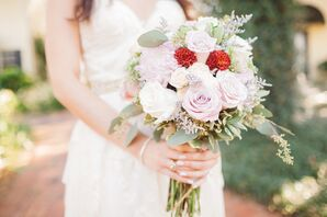 Blush and White Rose Bouquet with Red