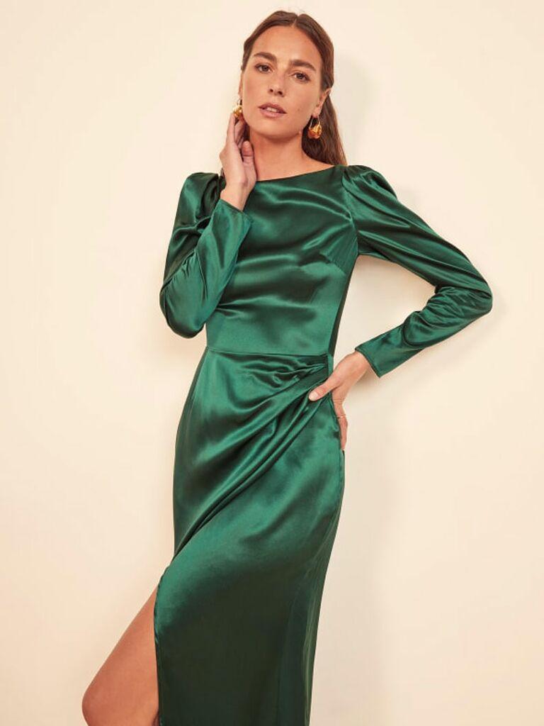 Emerald green long sleeve satin midi dress