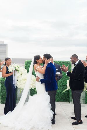 Couple Sharing First Kiss During Ceremony at The Faulkner in Jackson, Mississippi