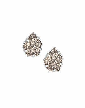 Kendra Scott Tessa Stud Earrings in Platinum Drusy Wedding Earring photo