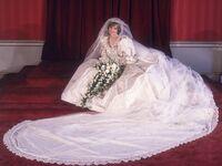 Princess Diana in her wedding dress designed by David and Elizabeth Emanuel in 1981.
