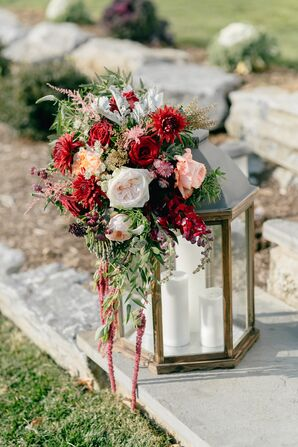 Lantern with Roses, Amaranthus, Greenery and Veronica
