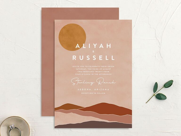 personalized wedding invitations sunset design