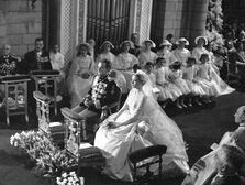 Prince Rainer and Grace Kelly during wedding ceremony.