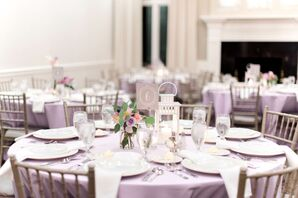 Reception Tables with Lavender Linens and Lanterns