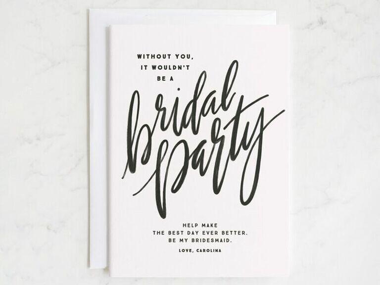 it wouldn't be a bridal party bridesmaid proposal card