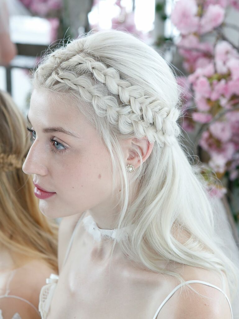 Half-up wedding hairstyle with braids