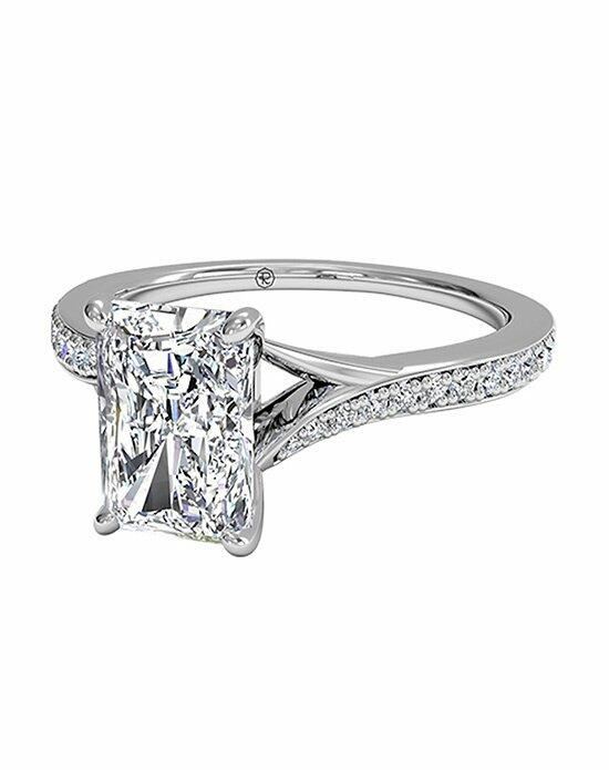 Ritani Radiant Cut Modern Bypass Micropavé Diamond Band Engagement Ring in Platinum (0.19 CTW) Engagement Ring photo
