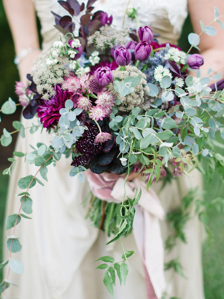 Tulip and astrantia wedding bouquet ideas