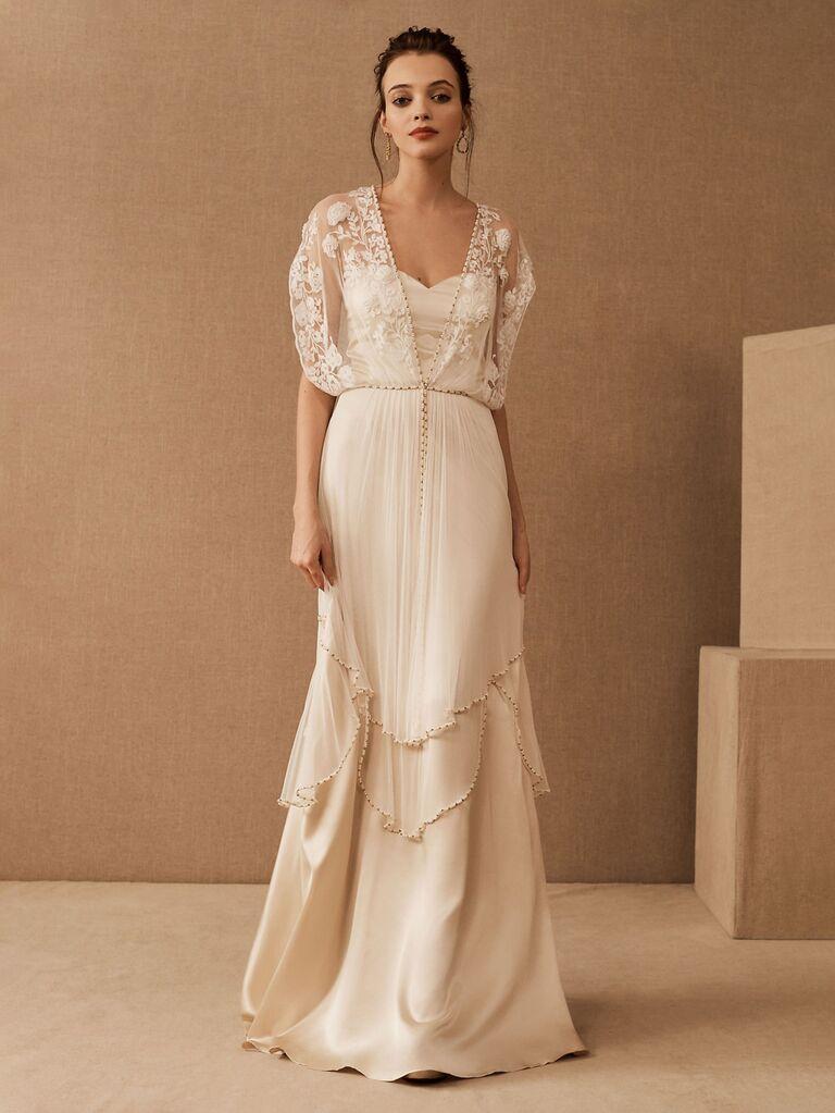 Váy cưới bhldn màu trắng với đường viền cổ áo ngọt ngào váy hoa xếp tầng có cườm và dây buộc bằng ren tay ngắn có đính hạt váy cưới đơn giản đẹp