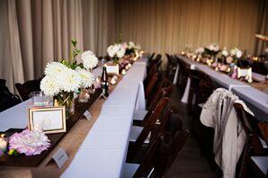 Long Table Barn Reception Set Up