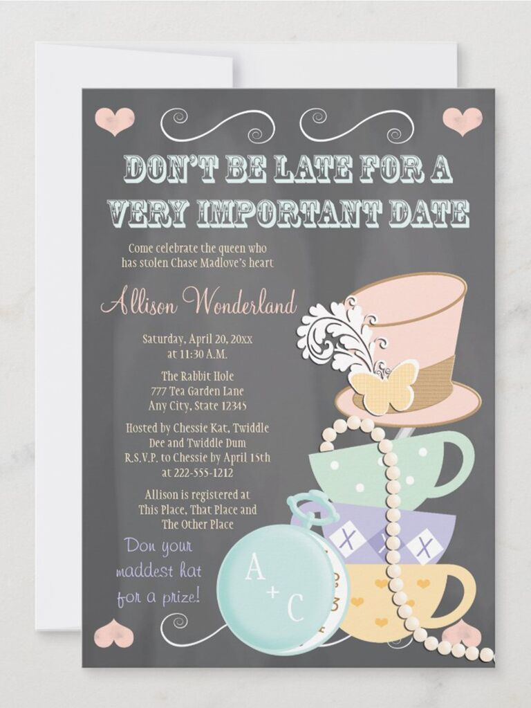 'Don't be late for a very important date' in blue block type and tea party graphics like top hat and tea cups in pastels on chalkboard background