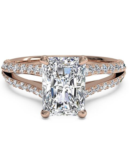 Ritani Double French-Set Diamond 'V' Engagement Ring with Surprise Diamonds - in 18kt Rose Gold (0.24 CTW) for a Radiant Center Stone Engagement Ring photo