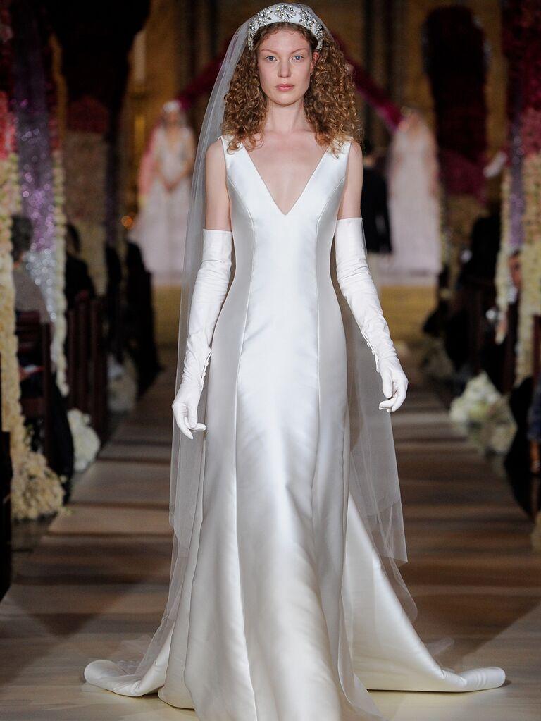 Reem Acra Spring 2020 Bridal Collection V-neck wedding dress with white gloves