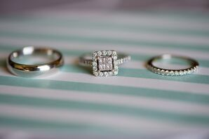 Wedding Rings on Turquoise Stripes