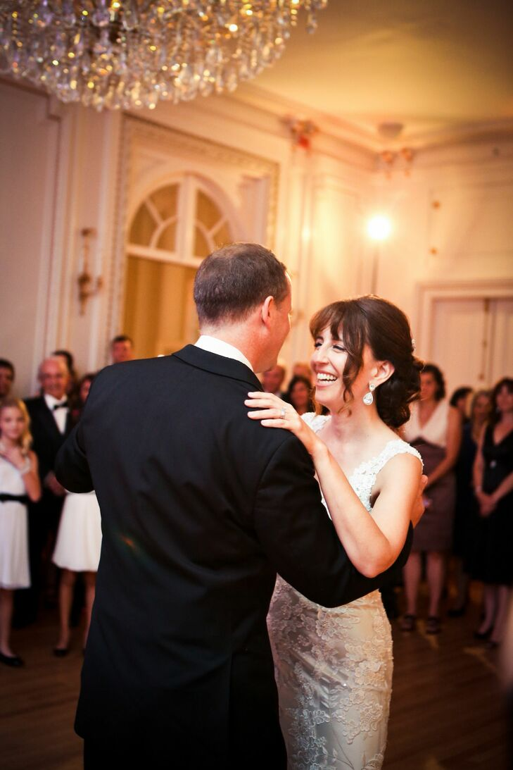 """""""We chose 'I Will' by Matchbox Twenty because it was beautiful,"""" Sharon says of their first dance song. """"Also, the words were meaningful and about being there for the other person no matter what."""""""