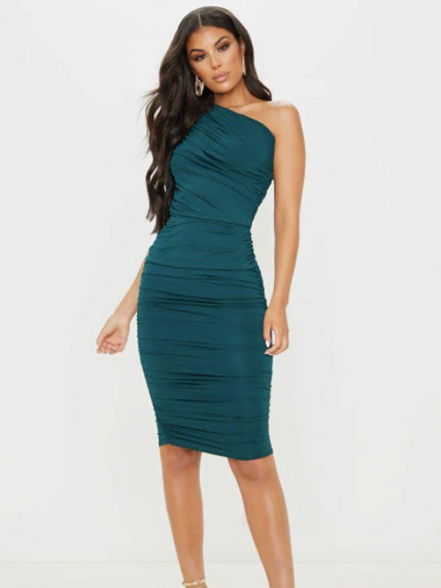 Emerald green one-shoulder ruched bodycon fall wedding guest dress