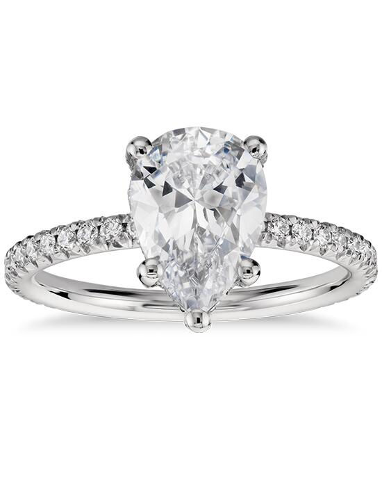 Blue Nile Studio Pear Shaped Petite French Pave Crown Diamond Engagement Ring  Engagement Ring photo