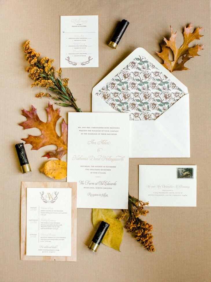 Rustic Wedding Invitation with Patterned Envelope Liner