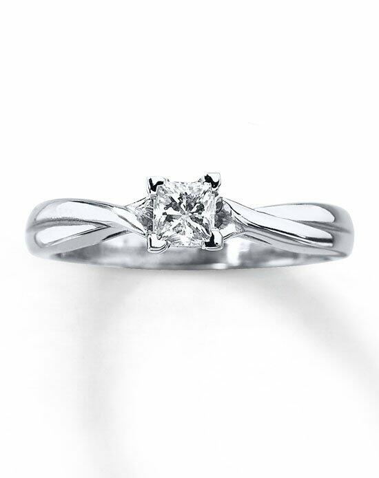 Kay Jewelers Diamond Solitaire Ring 3/8ct Princess-Cut 14K White Gold Twist Mounting-161261805 Engagement Ring photo