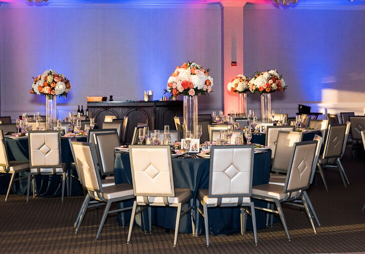 Geometric Silver and White Reception Seating