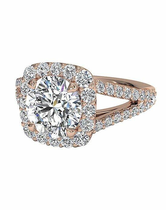 Ritani Round Cut Cushion Halo Diamond 'V' Band Engagement Ring in 18kt Rose Gold (0.50 CTW) Engagement Ring photo