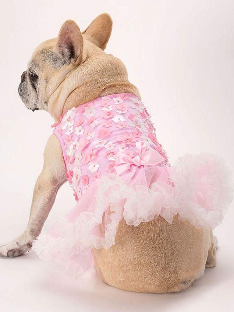 Pink floral dog wedding dress