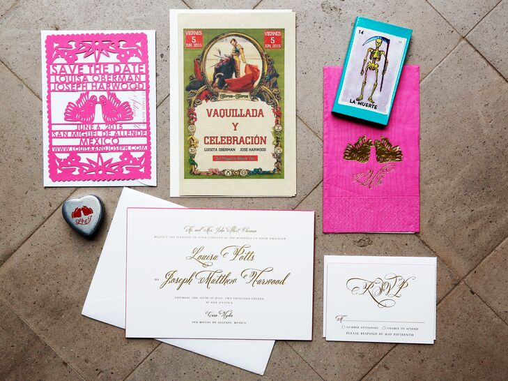 Louisa and Joseph's invitation suite was festive and bright, just like their wedding. Their save-the-date cards were even hot pink papel picado, a perfect touch for their Mexico destination wedding.