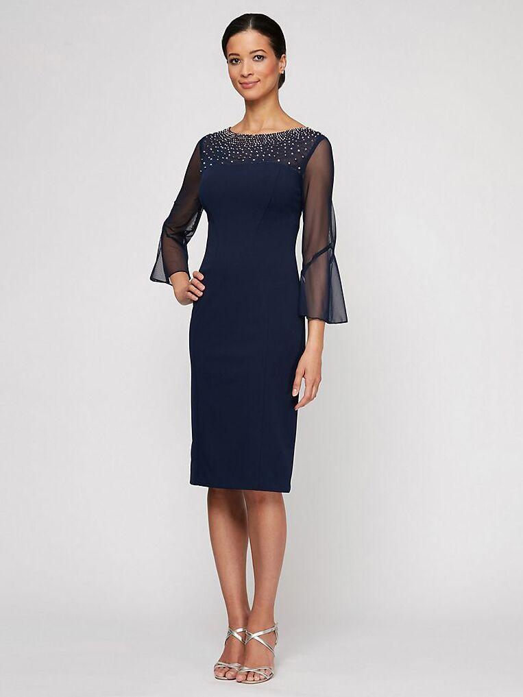 Alex Evenings beaded neckline sheath dress with bell sleeves