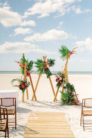 Modern, Tropical Altar Arch Trio for Beach Wedding With Leaves