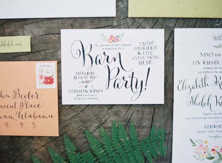Liz's friend designed all the paper goods for the wedding, which embodied an elegant look through its flowing calligraphy and floral watercolor designs.