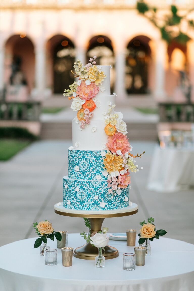 caila quinn wedding cake blue and white with florals