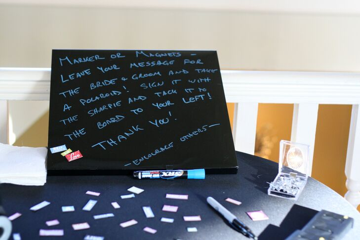 As a guest-book alternative, guests were invited to sign a dry-erase board and add their own favorite word magnets.