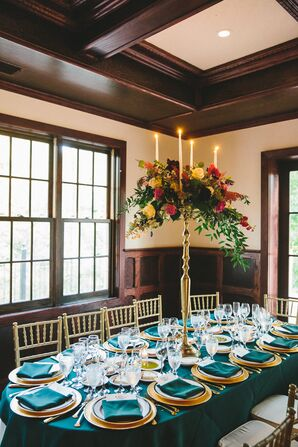 Emerald and Gold Reception Tables