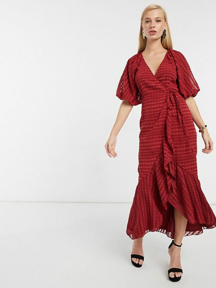 Deep red wrap maxi dress with puff sleeves and ruffles