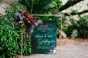 Emerald Green Welcome Sign for Wedding in Miami, Florida