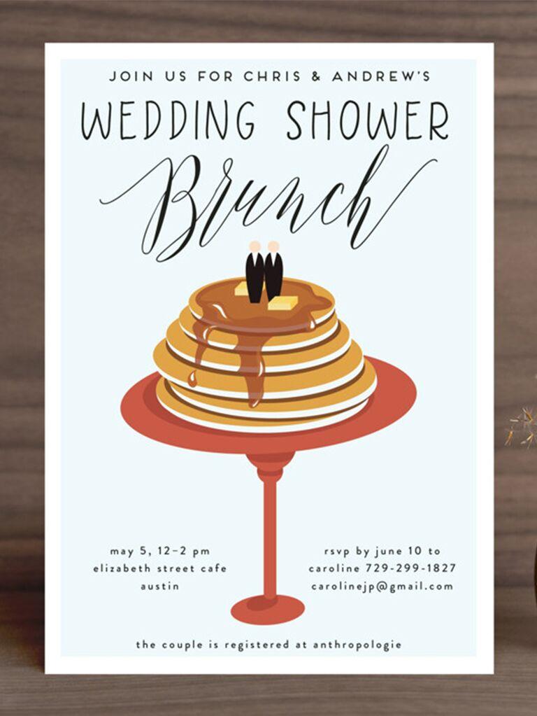 Pancake design with Wedding Shower Brunch in playful type on pastel blue background