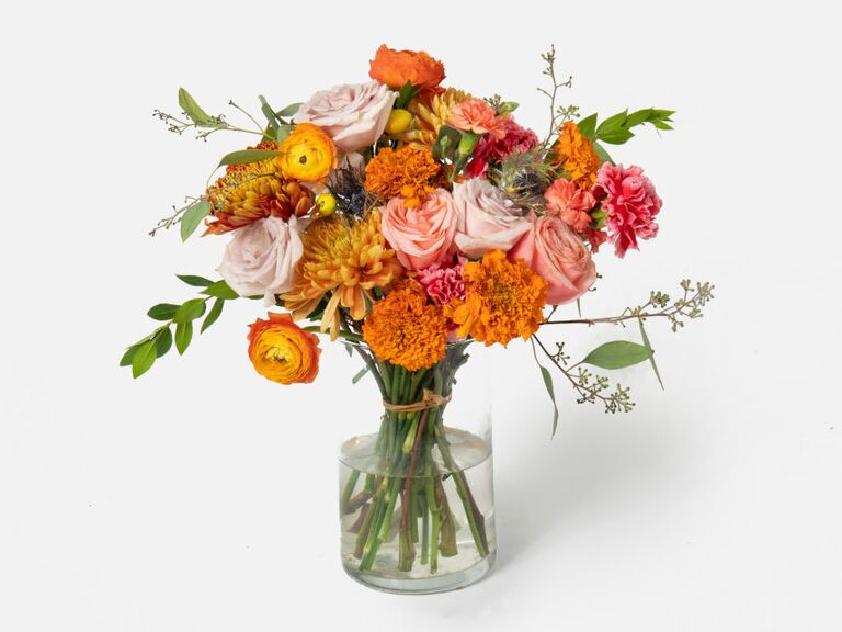 Bright bouquet of flowers with seventh anniversary freesias