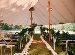 """Hilary and Alex took a trip back to camp when it came time to tie the knot. """"The Forest Lake Club is a very important place for us because it is where"""