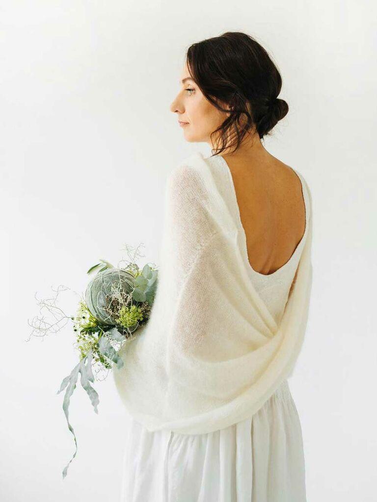 White open-back knit wedding shawl