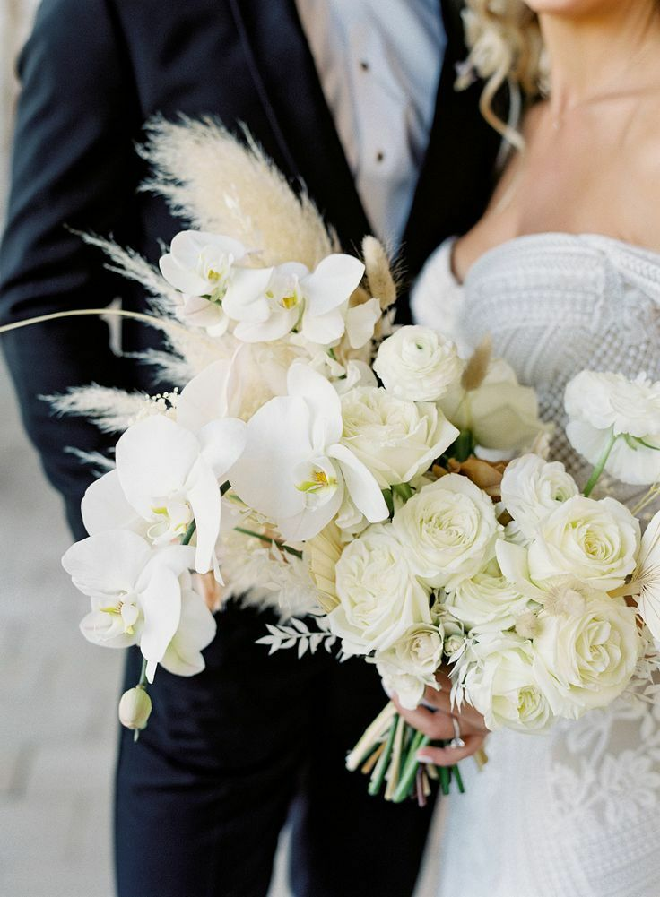 White bouquet with pampas grass and orchid