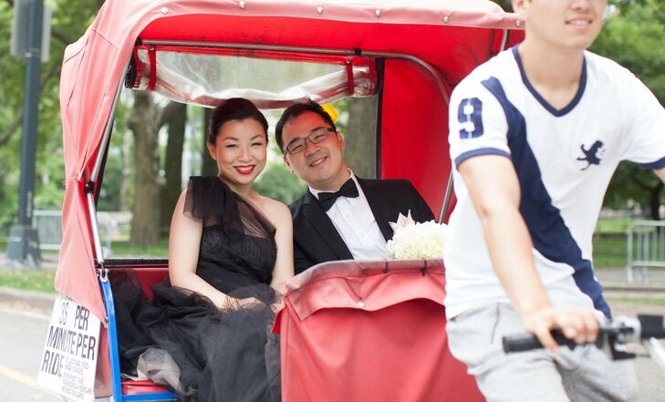 Gloria and Darren took wedding portraits at iconic New York City spots around Central park. They even hopped in a Pedicab for a photo op.