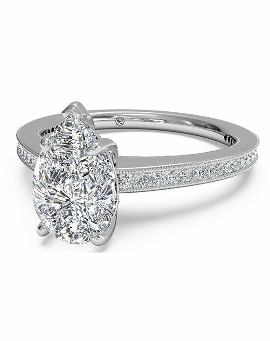 Ritani Pear Shaped Micropave Diamond Band Engagement Ring with Milgrain Finish in Platinum (0.20 CTW) Engagement Ring photo